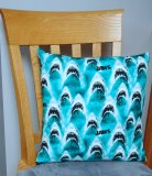 "Jaws Teeth Design - Large Handmade 16x16"" Accent or Throw Pillow"