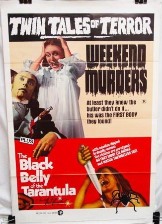 Double Feature Combo Poster: Weekend Murders (1970) & Black Belly of the Tarantula (1971)