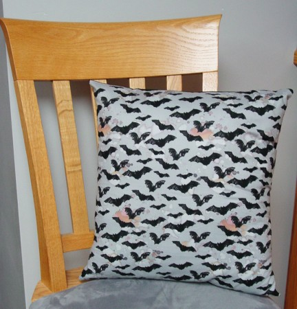 "Black Bats on Gray - Large Handmade 16x16"" Accent or Throw Pillow"
