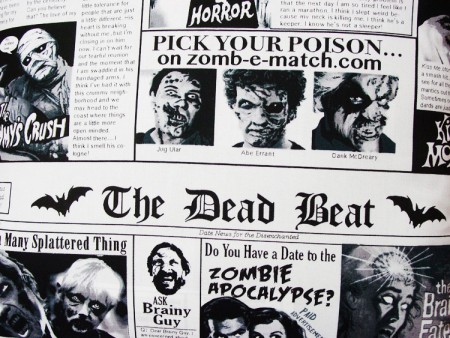 "The Dead Beat Newspaper - Large Handmade 16x16"" Accent or Throw Pillow"