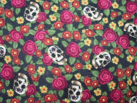 "Skulls and Roses - Large Handmade 16x16"" Accent or Throw Pillow"