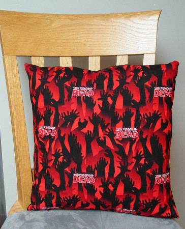 "Walking Dead Hands Design - Large Handmade 16x16"" Accent or Throw Pillow"