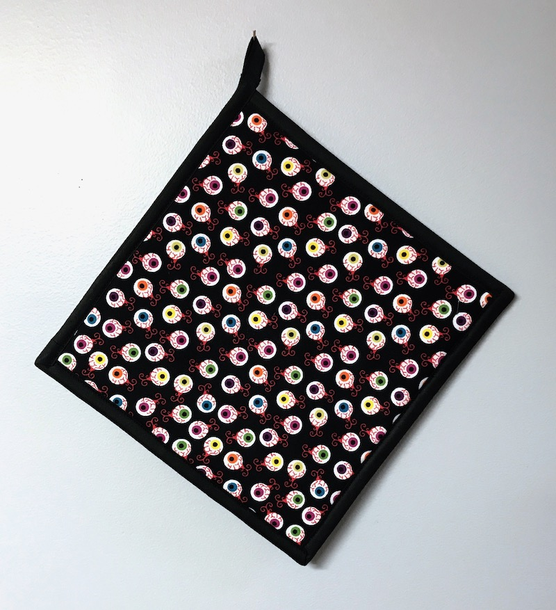 "Eyeballs on Black - Handmade 9x9"" Pot Holder"