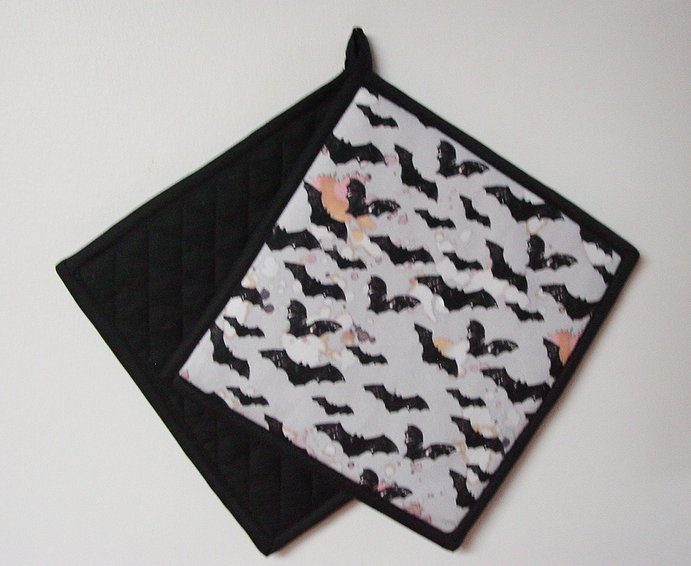 "Black Bats on Gray - Handmade 9x9"" Pot Holder"
