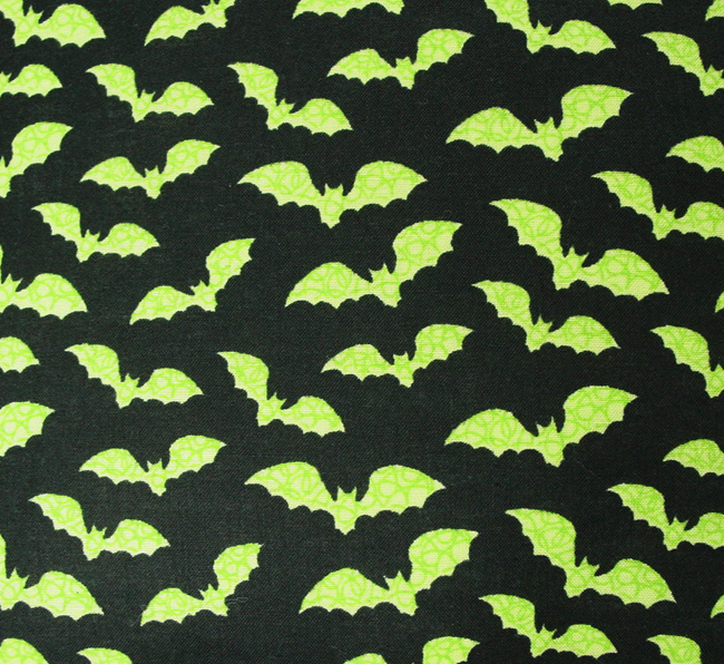 "Green Bats on Black - Handmade 9x9"" Pot Holder"