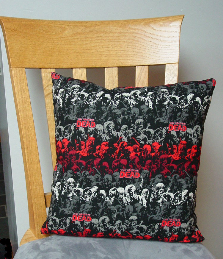 "Walking Dead Zombie Design - Large Handmade 16x16"" Accent or Throw Pillow"