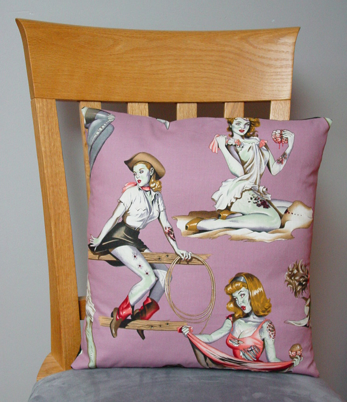 "Pin-Up Zombies - Large Handmade 16x16"" Accent or Throw Pillow"