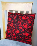 "Blood Splatter on Black - Large Handmade 16x16"" Accent or Throw Pillow"