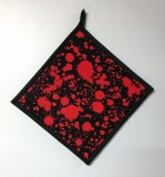 "Blood Splatter on Black - Handmade 9x9"" Pot Holder"