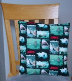 "Jaws Attack Design - Large Handmade 16x16"" Accent or Throw Pillow"