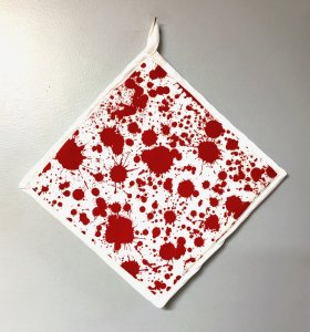 "Blood Splatter on White - Handmade 9x9"" Pot Holder"