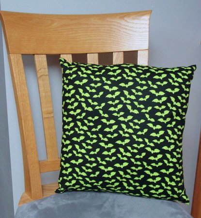 "Green Bats on Black - Large Handmade 16x16"" Accent or Throw Pillow"