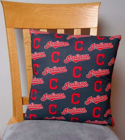 "Cleveland Indians Baseball - Large Handmade 16x16"" Accent or Throw Pillow"