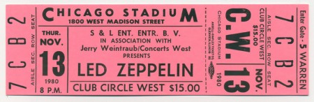 Led Zeppelin: Unused 1980 Concert Ticket
