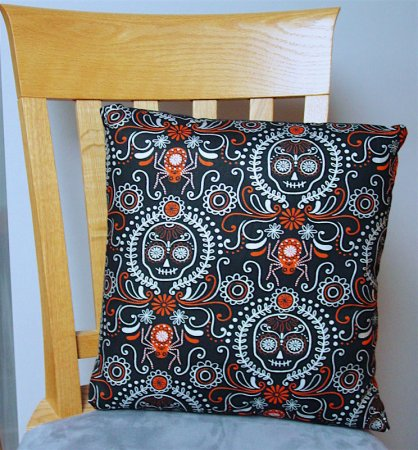 "Sugar Skull - Large Handmade 16x16"" Accent or Throw Pillow"