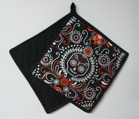 "Sugar Skull - Handmade 9x9"" Pot Holder"