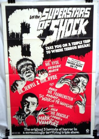 3 Superstars of Shock (R-1972) Triple Feature Poster