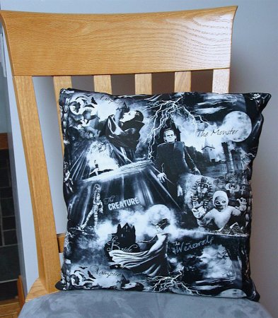 "Classic B&W Monsters - Large Handmade 16x16"" Accent or Throw Pillow"